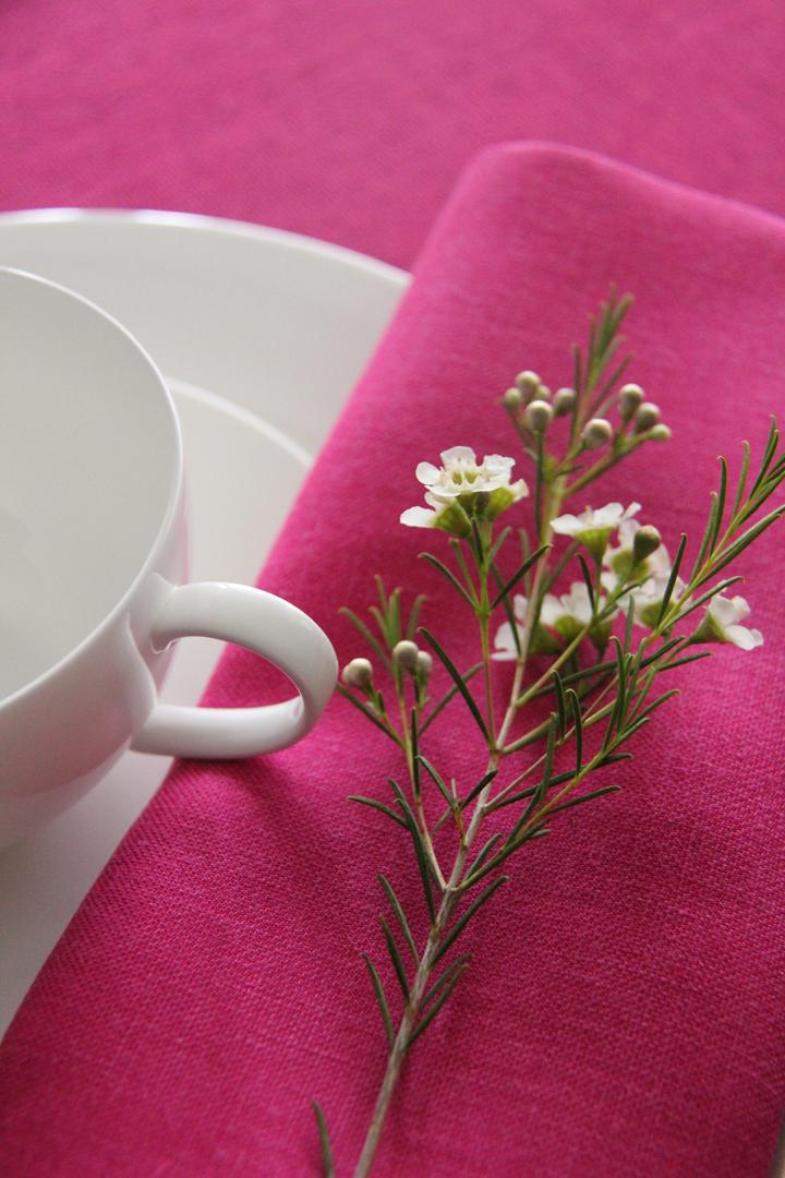 Múltiples combinaciones de servilletas 100% lino: servilleta piedra, servilleta rosa fucsia, servilleta verde pistacho, servilleta gris, servilleta blanca, servilleta azul, servilleta turquesa y servilleta vainilla