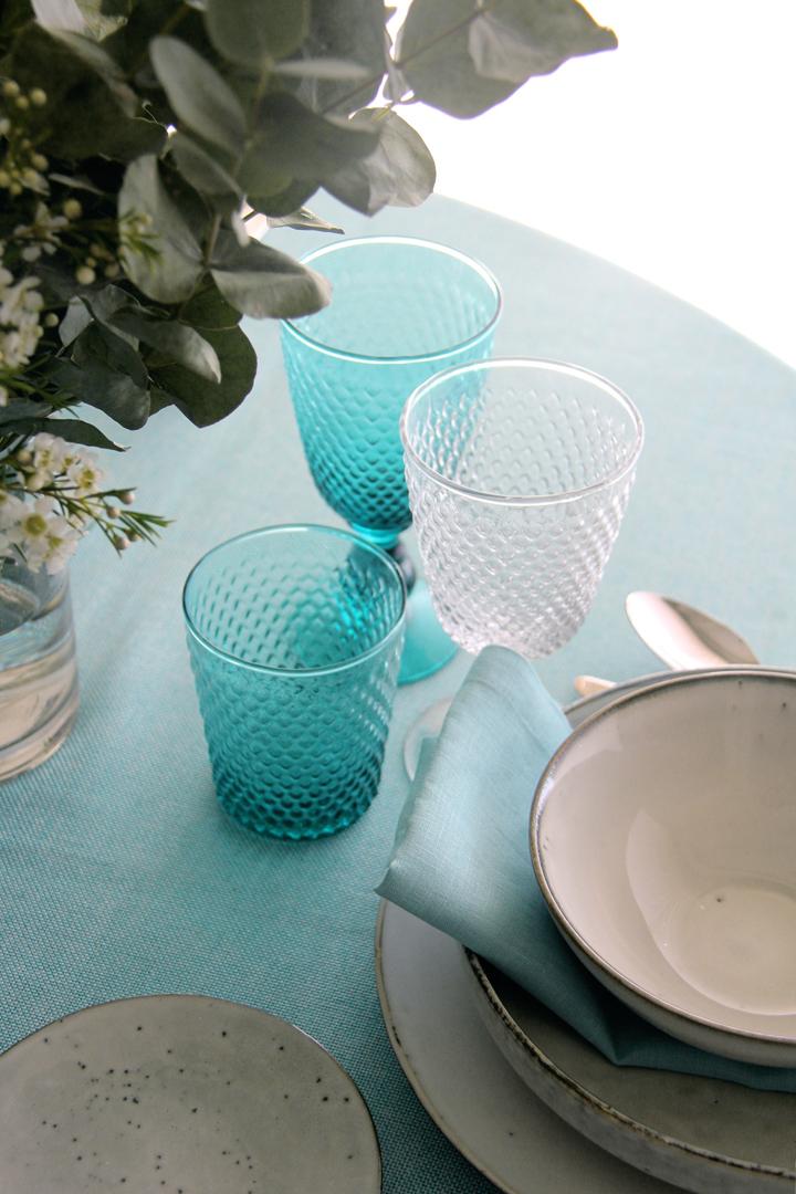 alquiler mantelería lisa turquesa fácil de mezclar con multitud de lisos y estampados para catering y wedding planner
