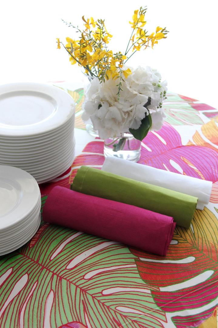 Adamo color con tres combinaciones de servilletas 100% lino: servilleta fucsia, servilleta pistacho y servilleta blanca