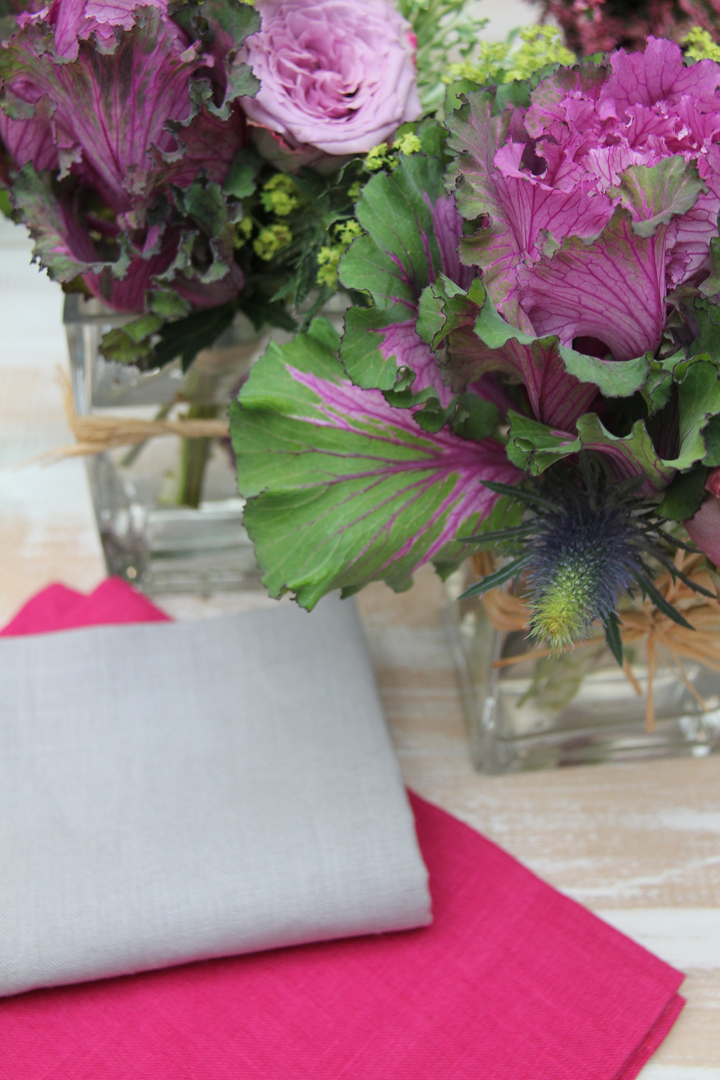 servilleta lino rosa fucsia con mutitud de combinaciones con servilletas 100% lino: servilleta verde pistacho, servilleta piedra, servilleta gris, servilleta turquesa, servilleta azul, servilleta vainilla y servilleta blanca